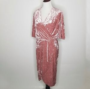 Alexia Admor Pink Flutter Sleeve Velvet Wrap Dress